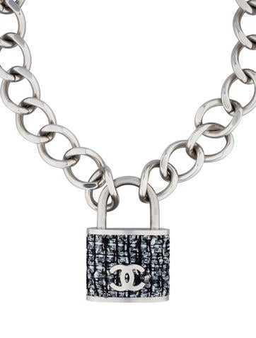 Tweed Padlock Necklace
