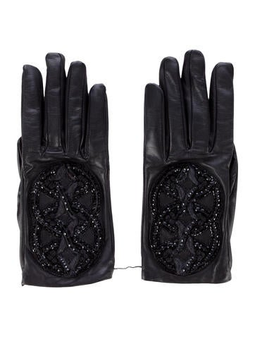 Embellished Lambskin Gloves w/ Tags