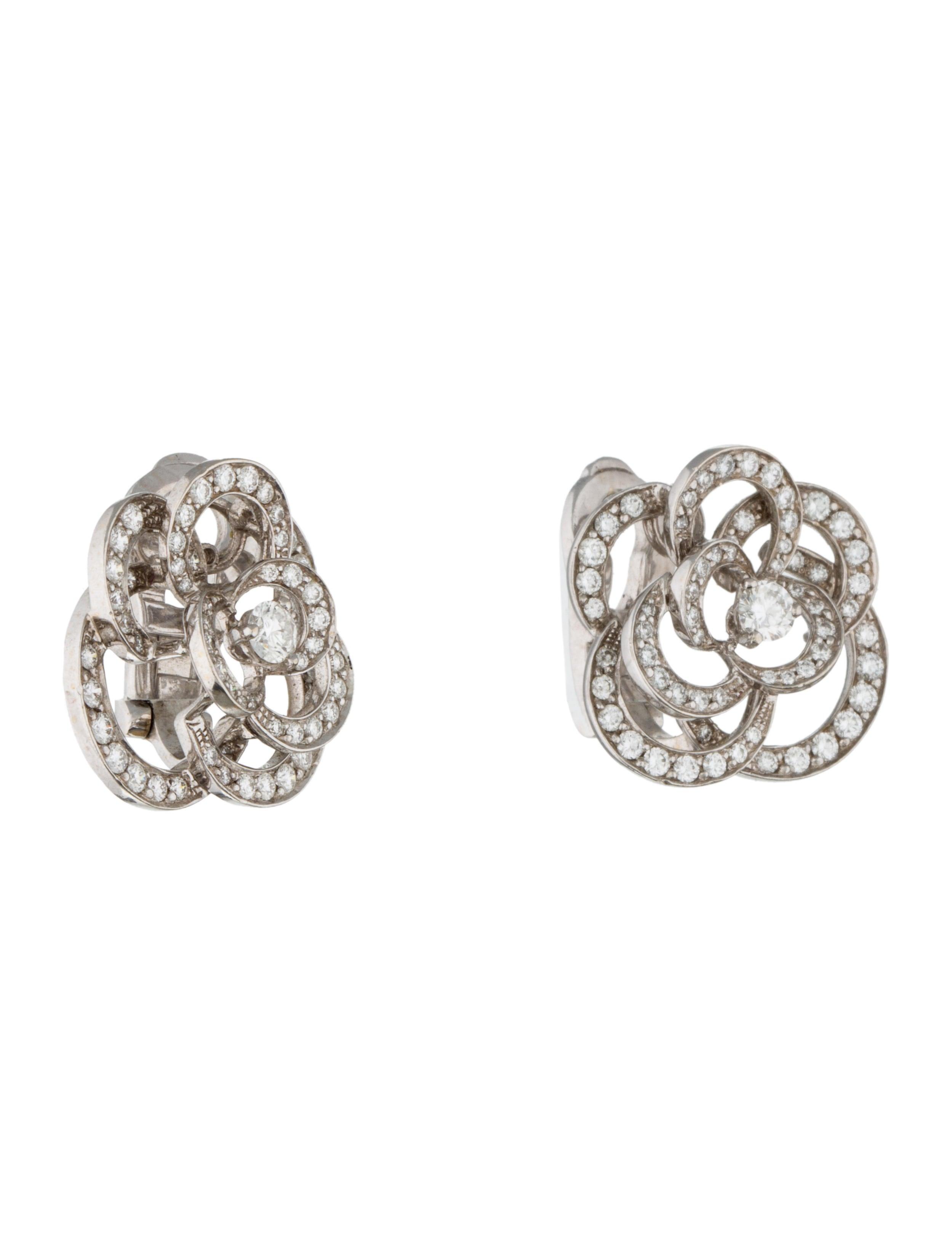 chanel diamond camellia earrings earrings cha85029
