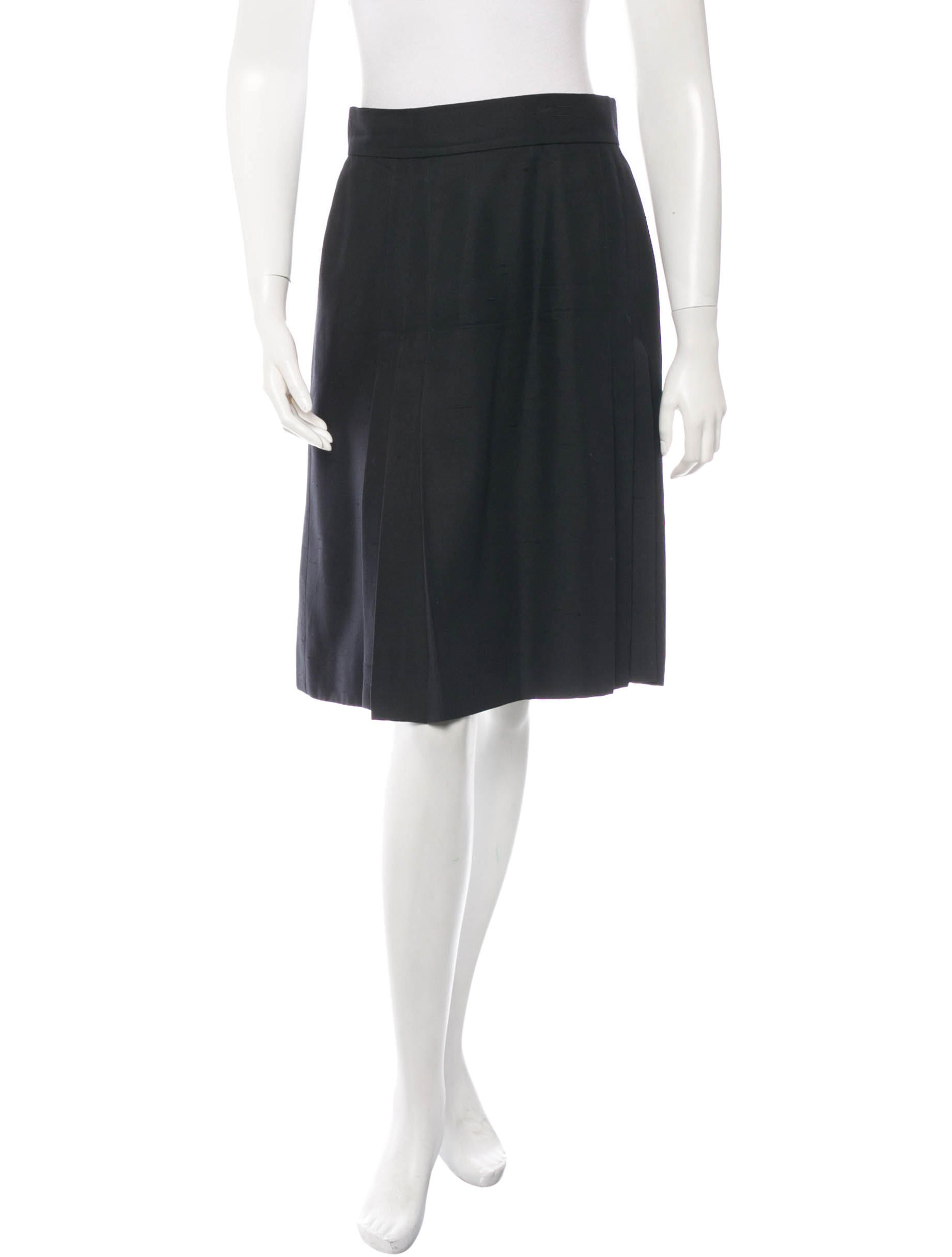 chanel pleated silk skirt clothing cha90248 the realreal