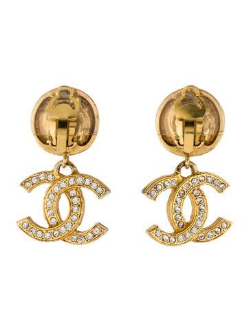 Crystal CC Drop Earrings