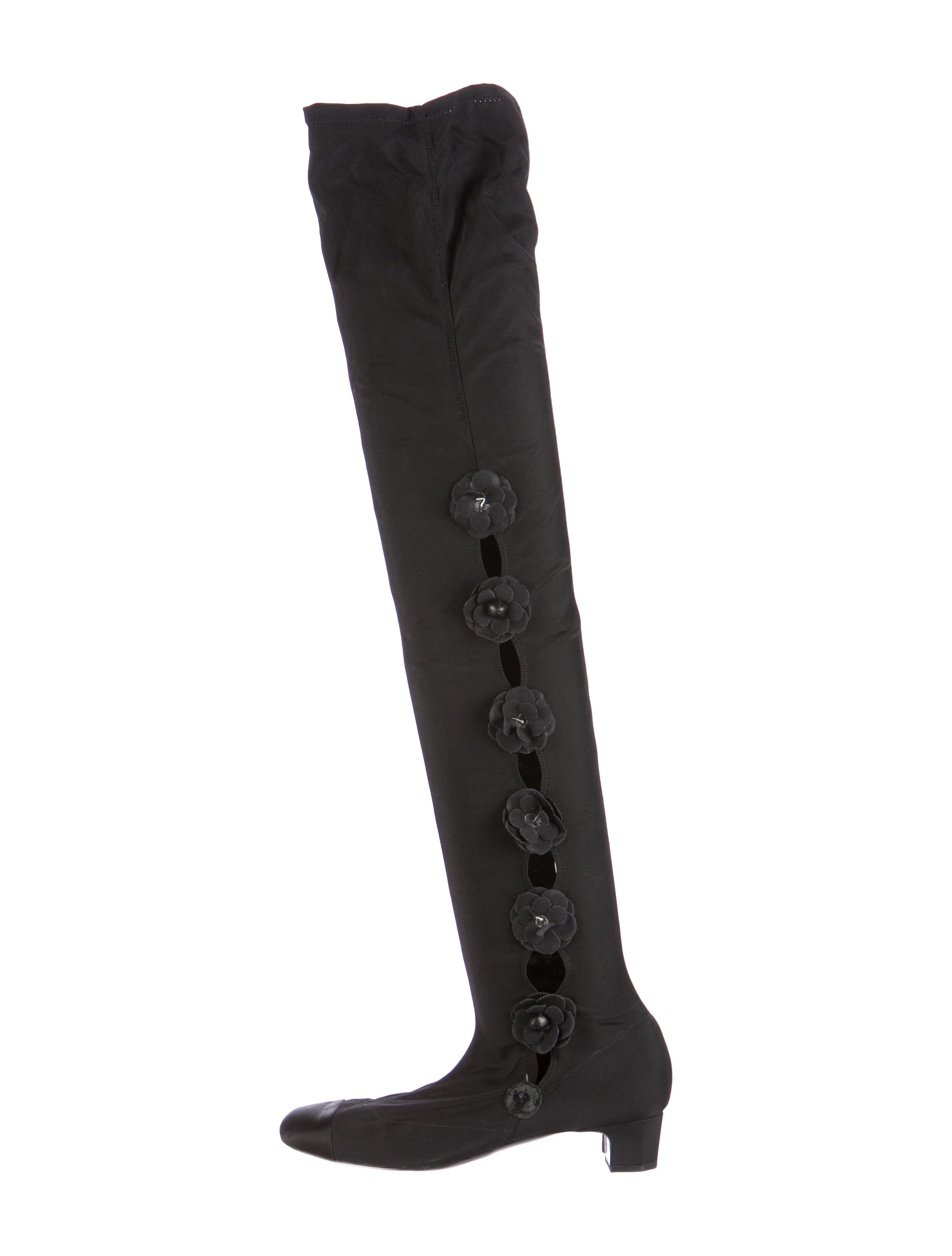 chanel over the knee boots. camellia over-the-knee boots chanel over the knee