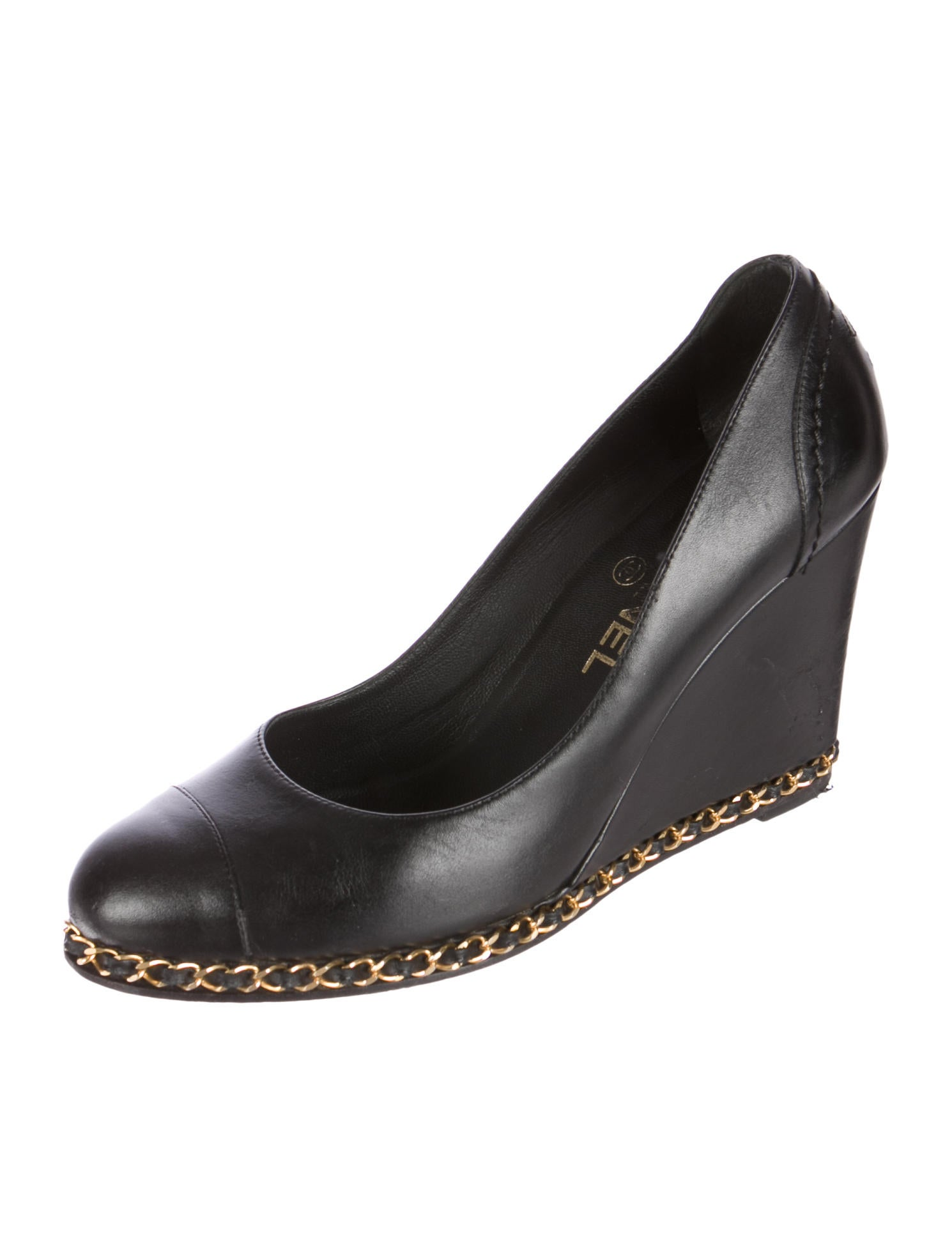 chanel leather chain link wedges shoes cha93678 the
