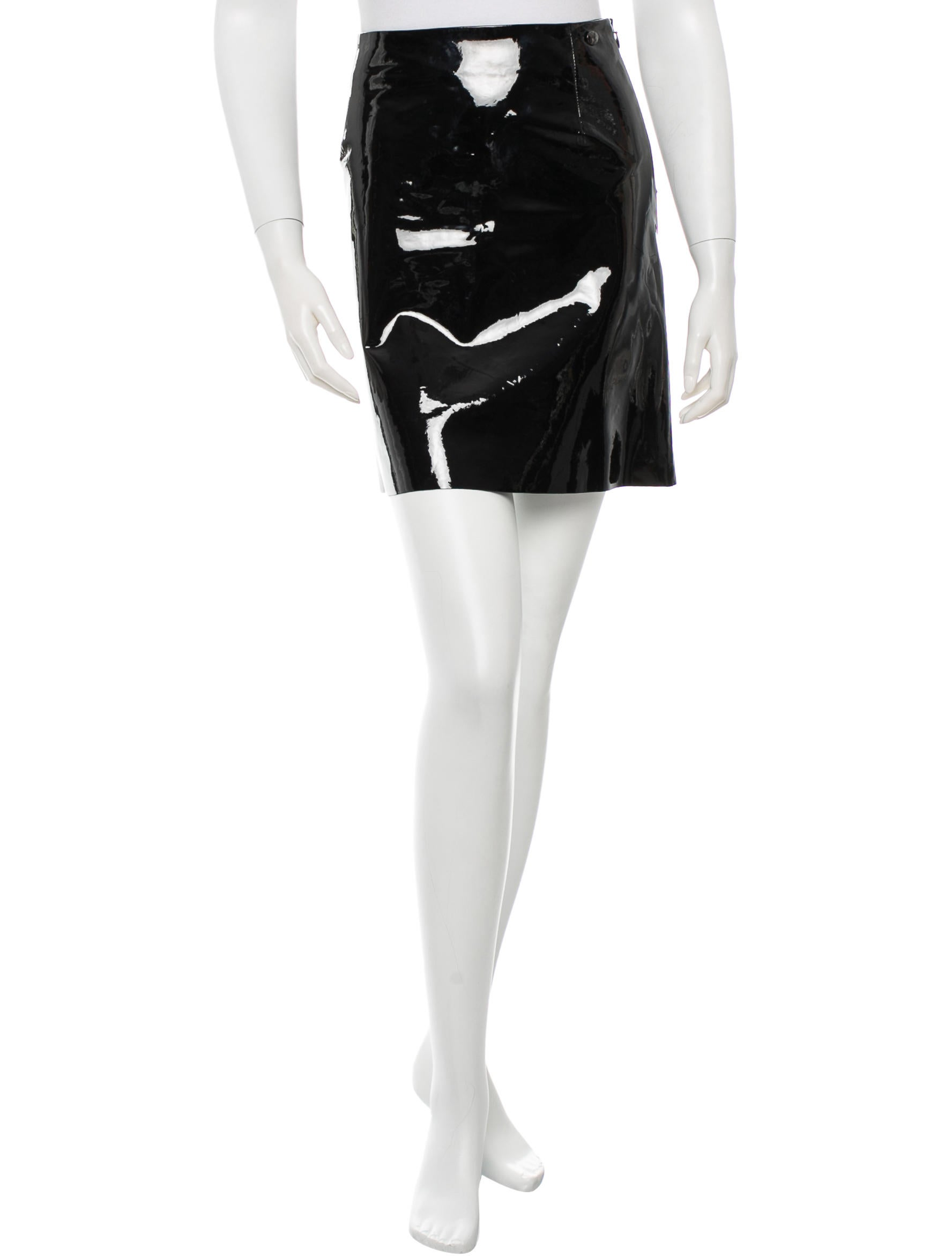 chanel patent leather mini skirt clothing cha93942