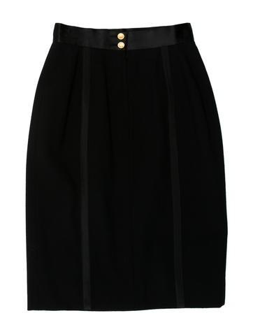 Wool Satin-Trimmed Skirt