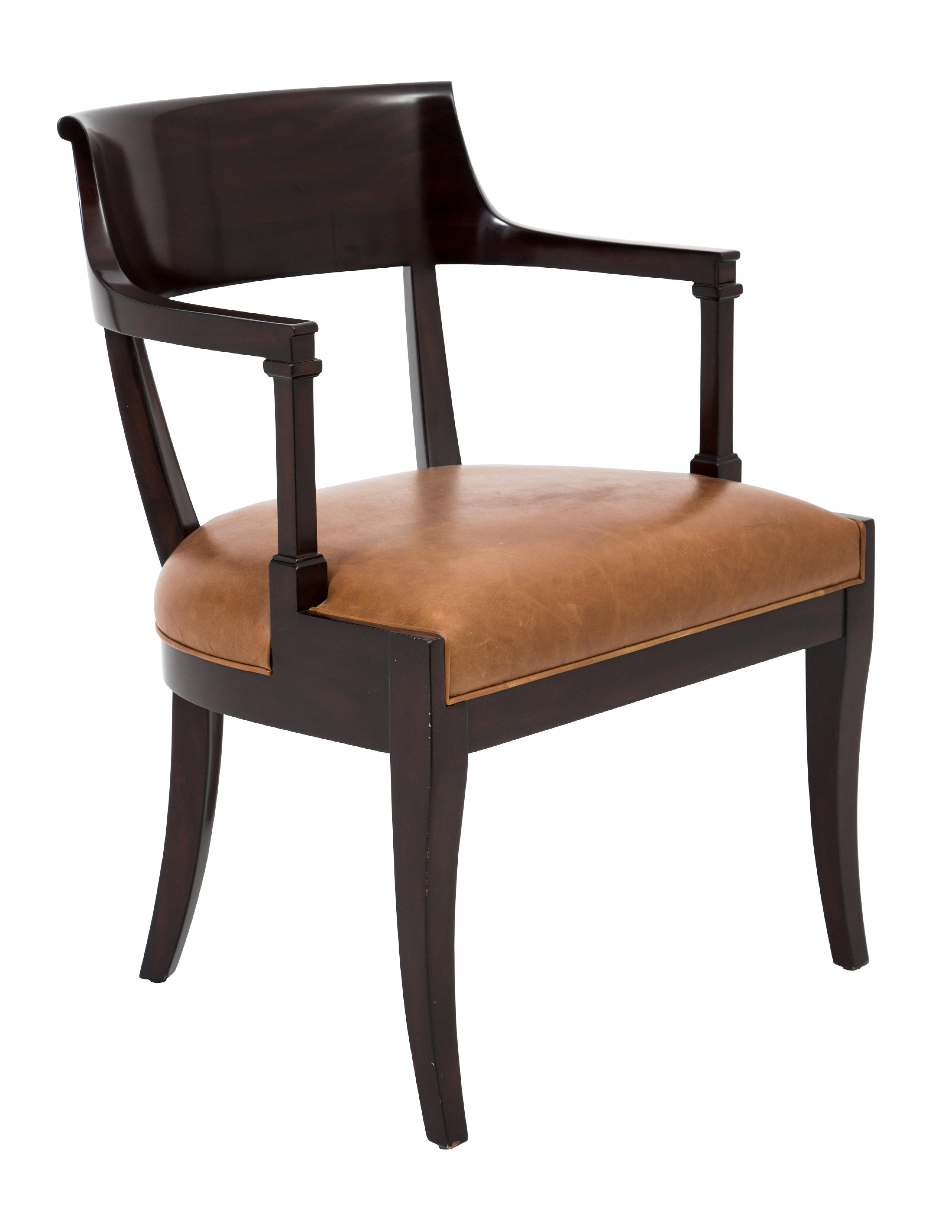 Chair Theodore Alexander Leather Upholstered Armchair