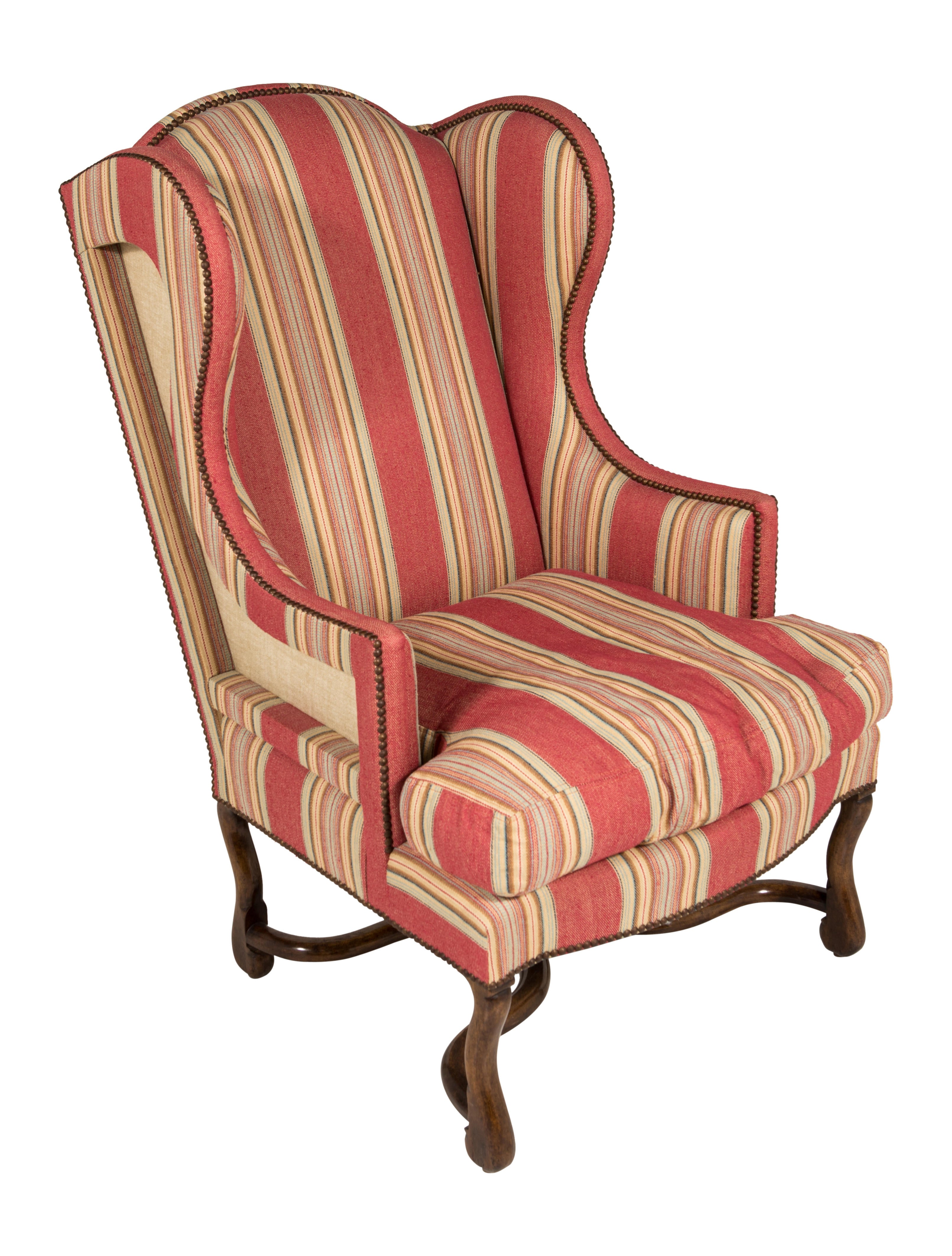 Striped Upholstered Wingback Chair Furniture