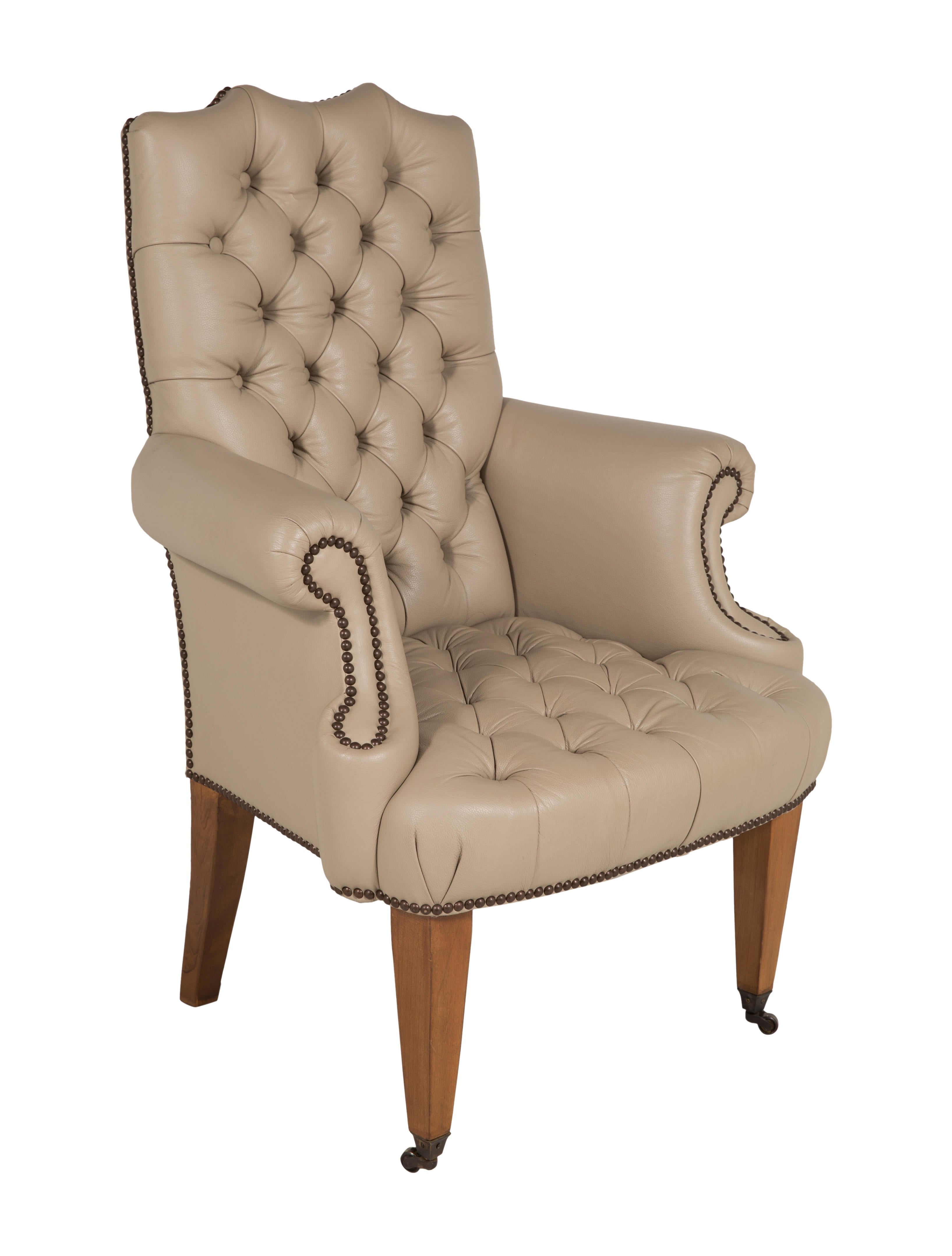 Georgian Style Tufted Leather Chair Furniture