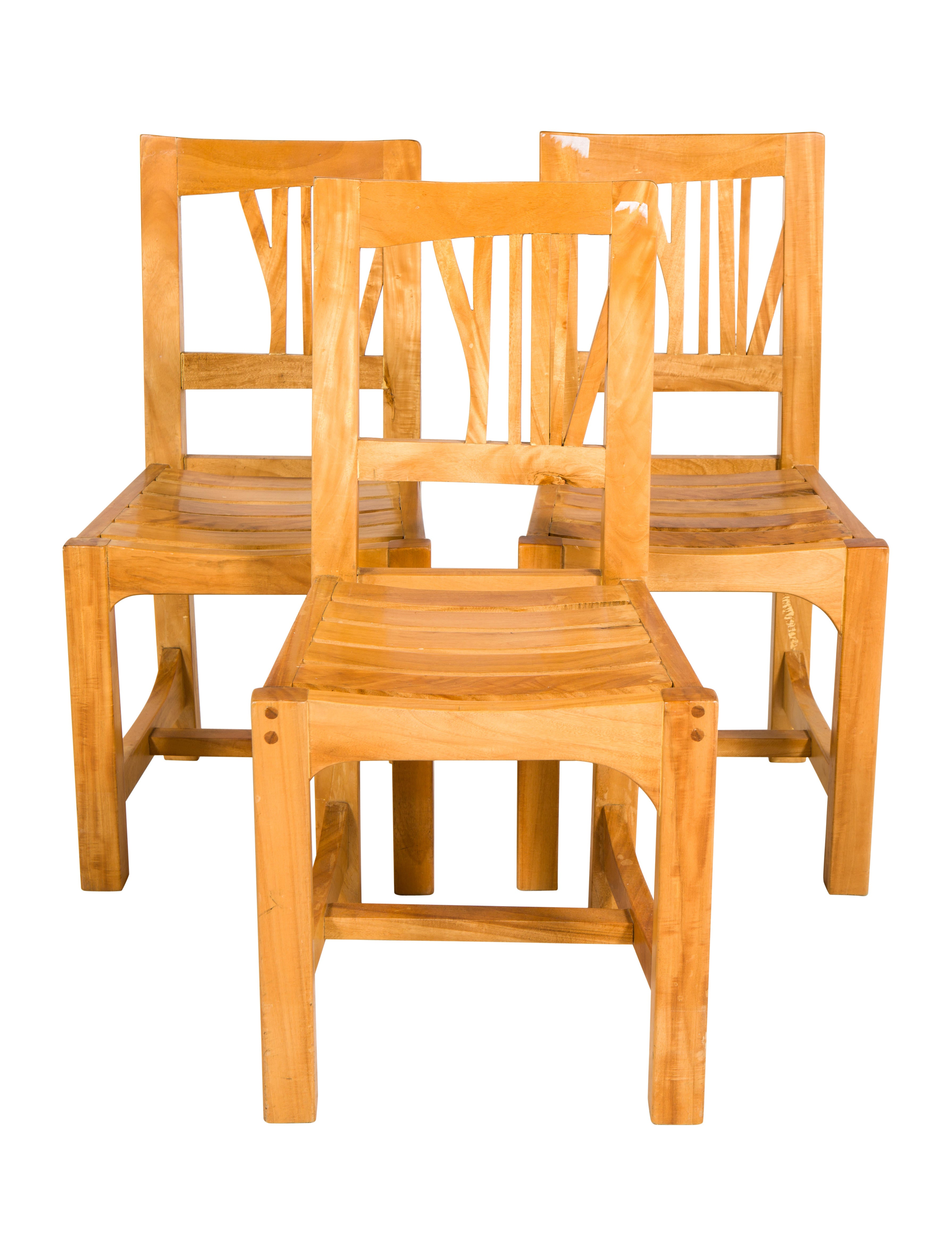 Set Of Three Contemporary Wood Dining Chairs Furniture