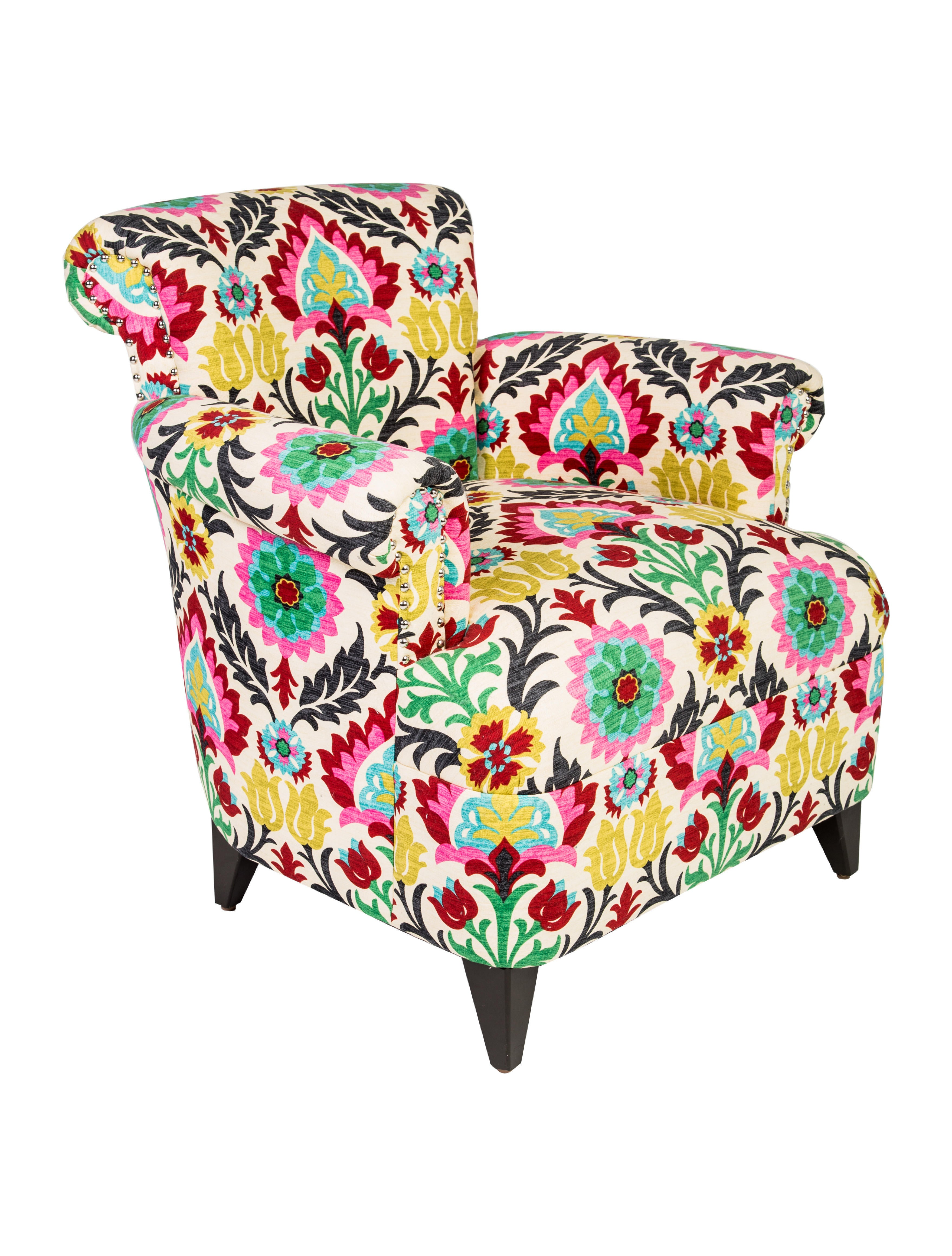 Floral Upholstered Club Chair Furniture Chair20495 The Realreal