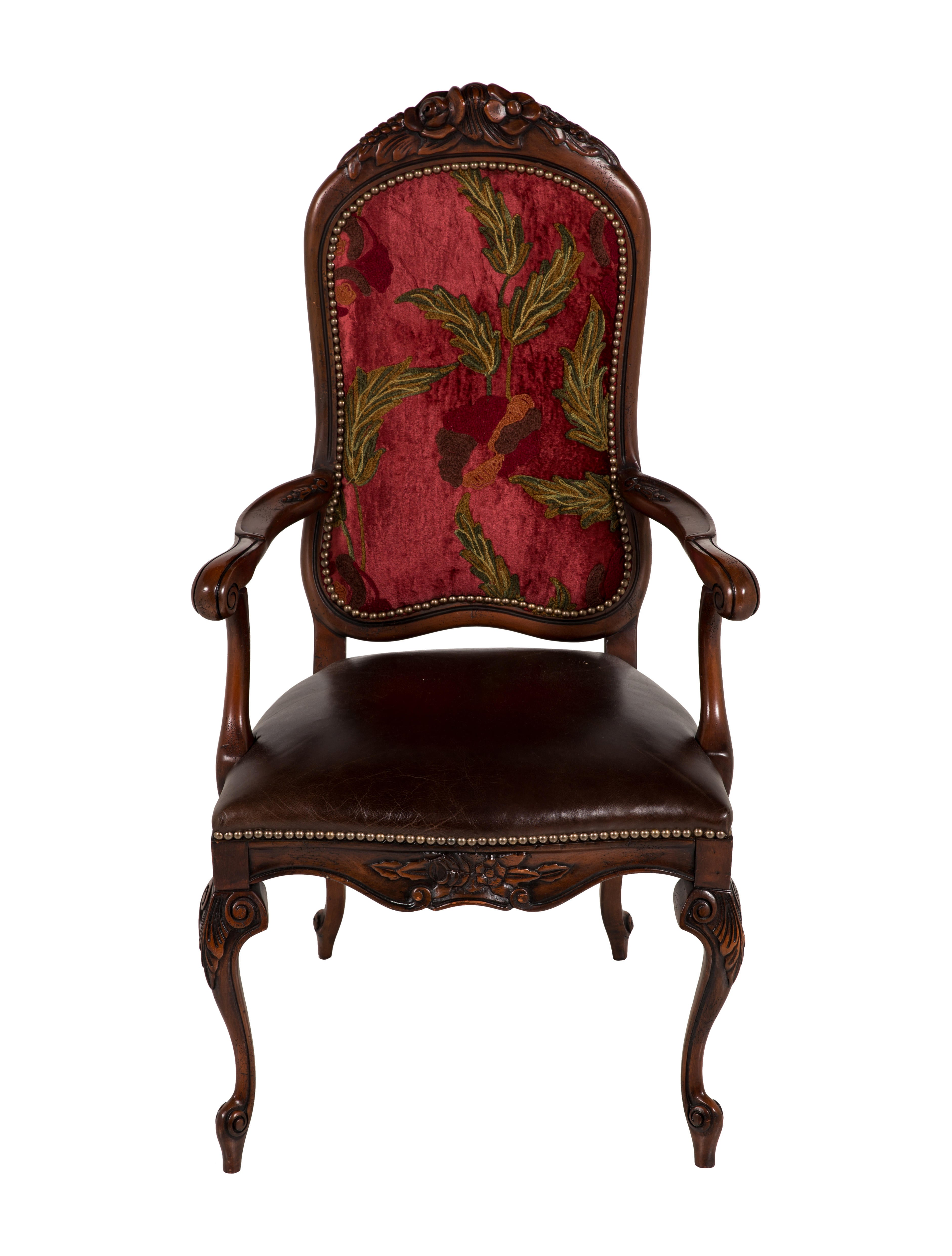 Pair of Leather & Velvet Upholstered Chairs - Furniture ...