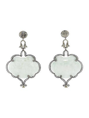 7ctw Diamond & Jade Chandelier Earrings