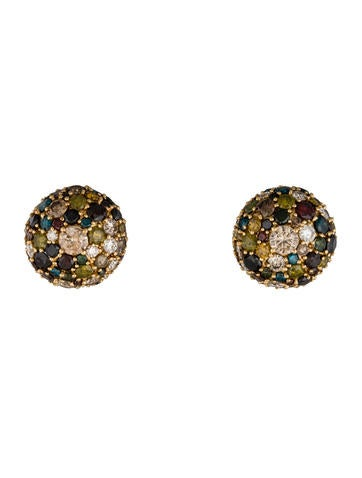 18K Multicolored Diamond Dome Earrings
