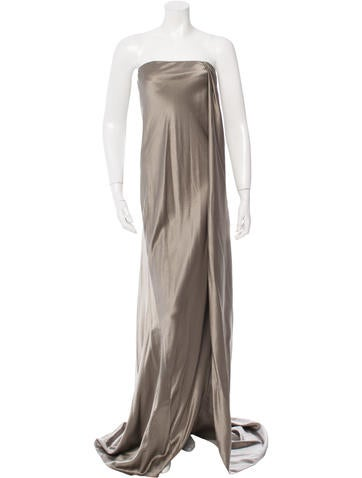 Silk & Wool-Blend Strapless Gown w/ Tags