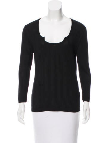 Ralph Rucci Silk Rib Knit Top None