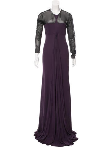 Ralph Rucci Sheer-Paneled Pleated Gown None