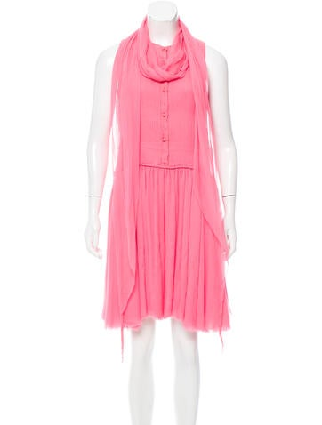 Ralph Rucci Scarf-Accented Mini Dress None