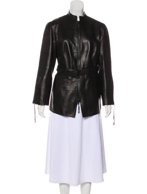 Ralph Rucci Belted Leather Jacket Black