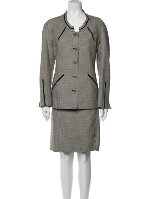 Ralph Rucci Wool Houndstooth Print Skirt Suit Wool