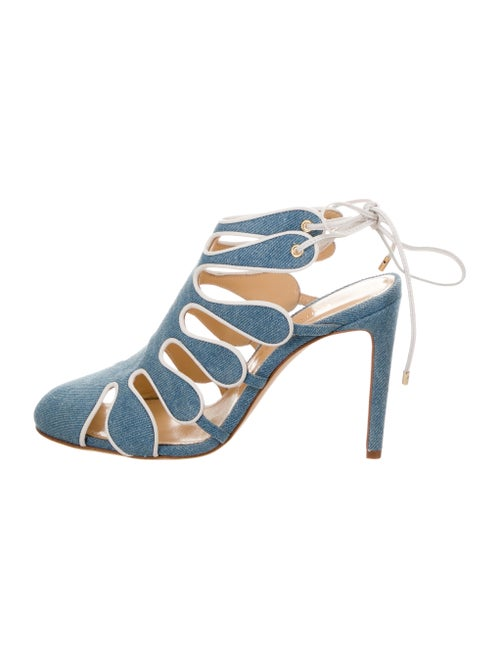 Chloé Gosselin Calico Denim Sandals Blue