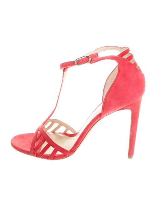 Chloé Gosselin Suede T-Strap Sandals Red