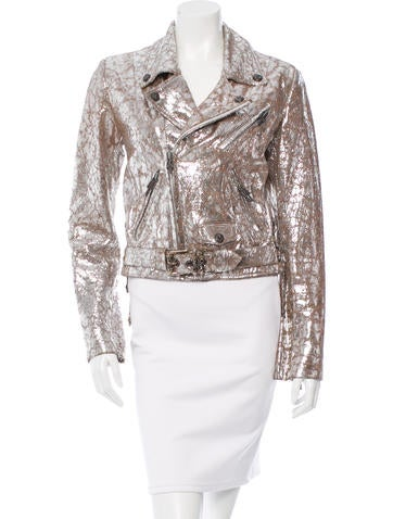 Silver-Embellished Leather Jacket