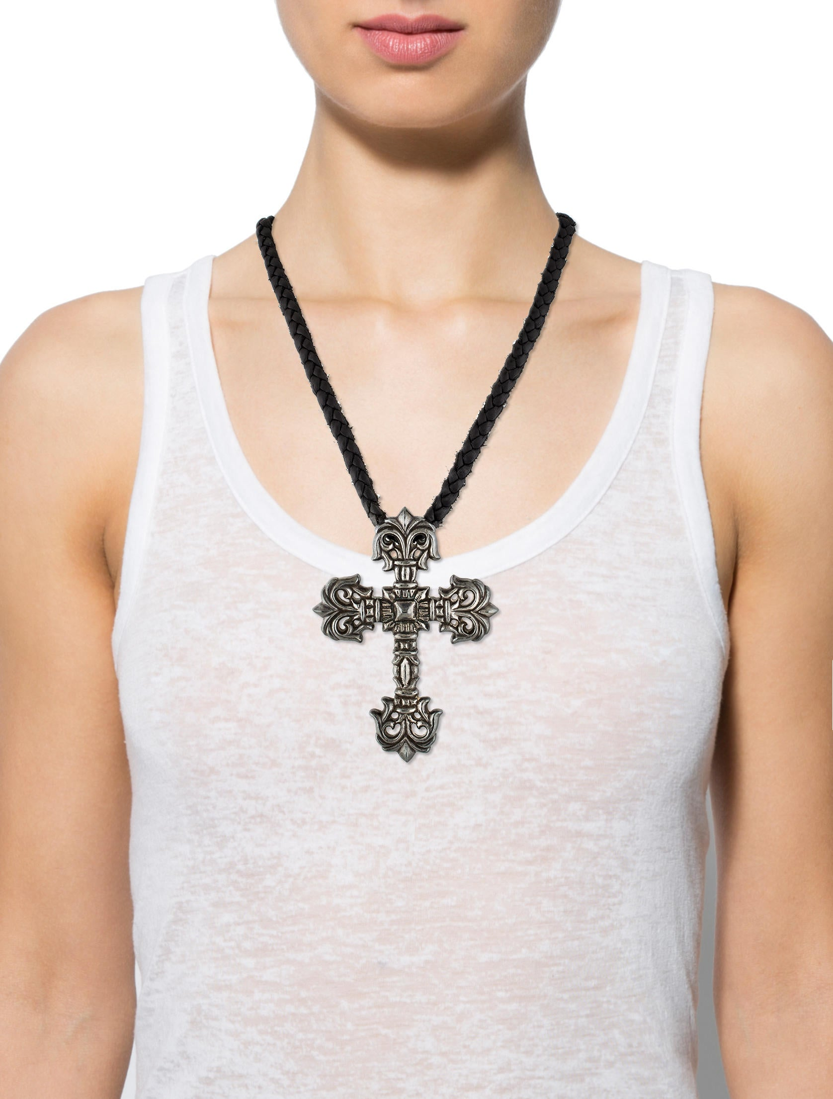 Shop cross pendant jewelry at Neiman Marcus, where you will find free shipping on the latest in fashion from top designers. Fantasia by DeSerio Large CZ Cross Pendant Necklace Details Fantasia by DeSerio large cross pendant necklace. karat white gold plating over sterling silver with rhodium finish. Cubic zirconia, total carat weight.