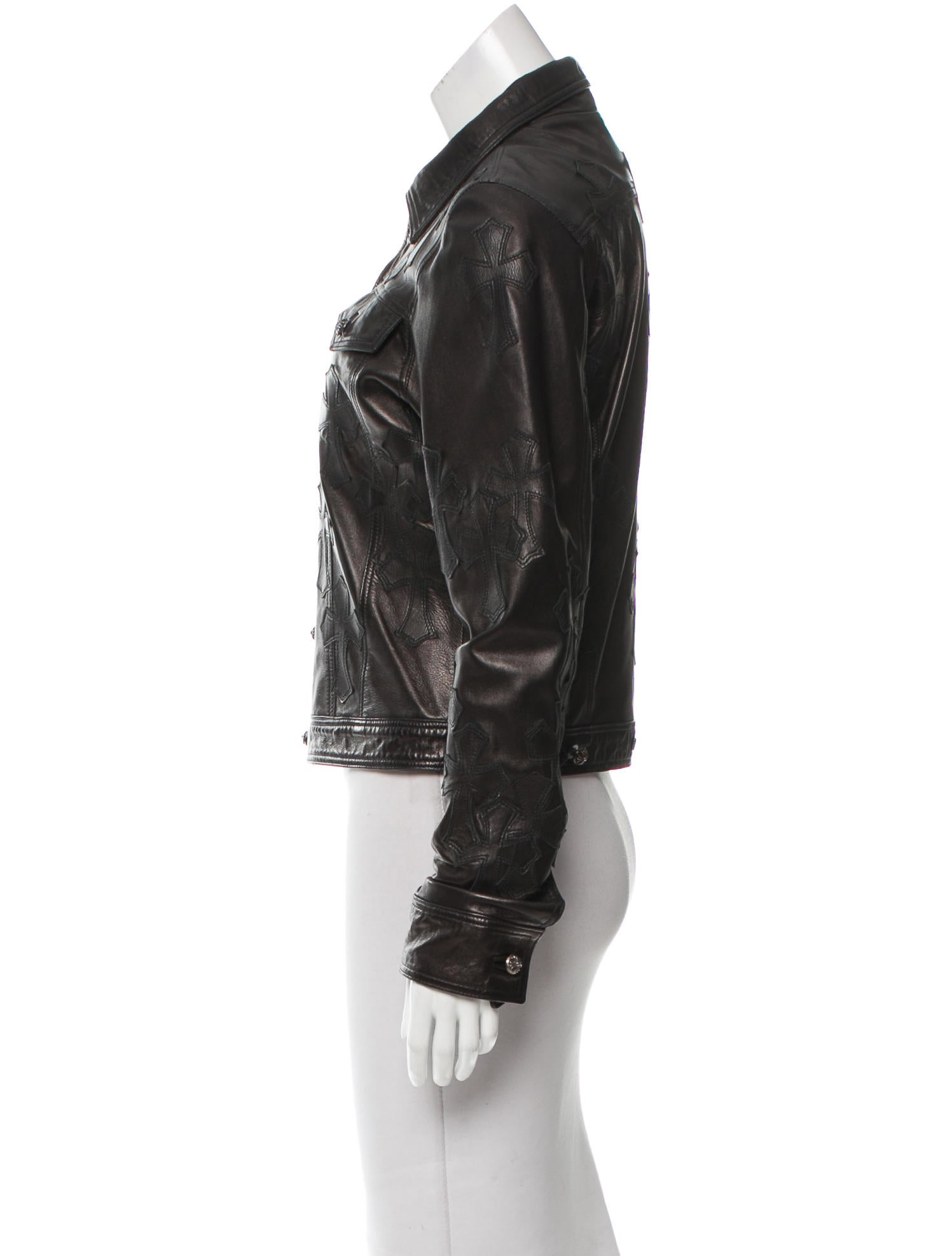 Chrome Hearts Button-Up Leather Jacket - Clothing ...