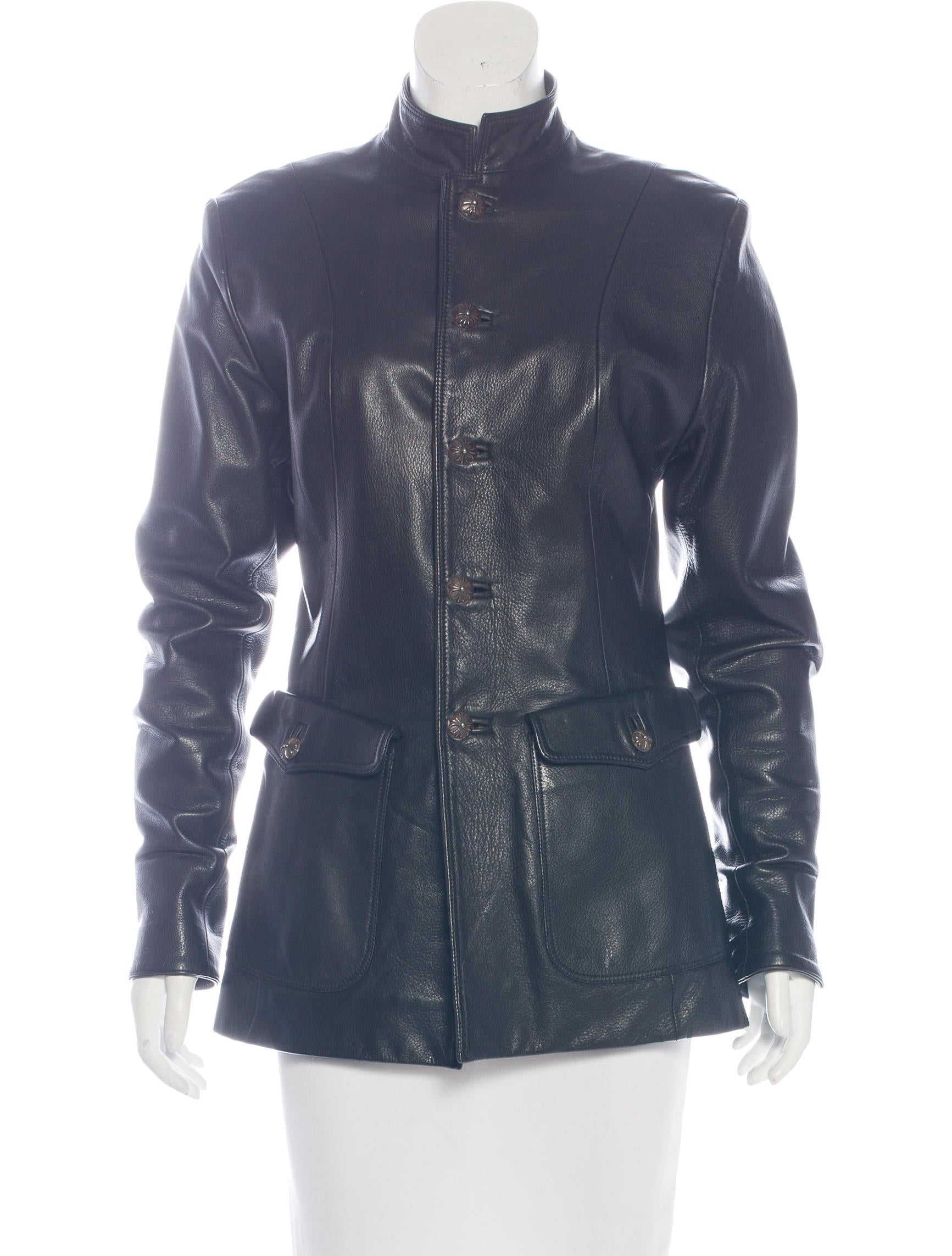 Chrome Hearts Leather Button-Up Jacket - Clothing ...