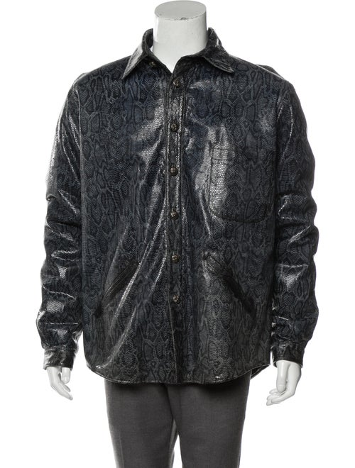 Chrome Hearts Snakeskin Button-Up Jacket blue - image 1