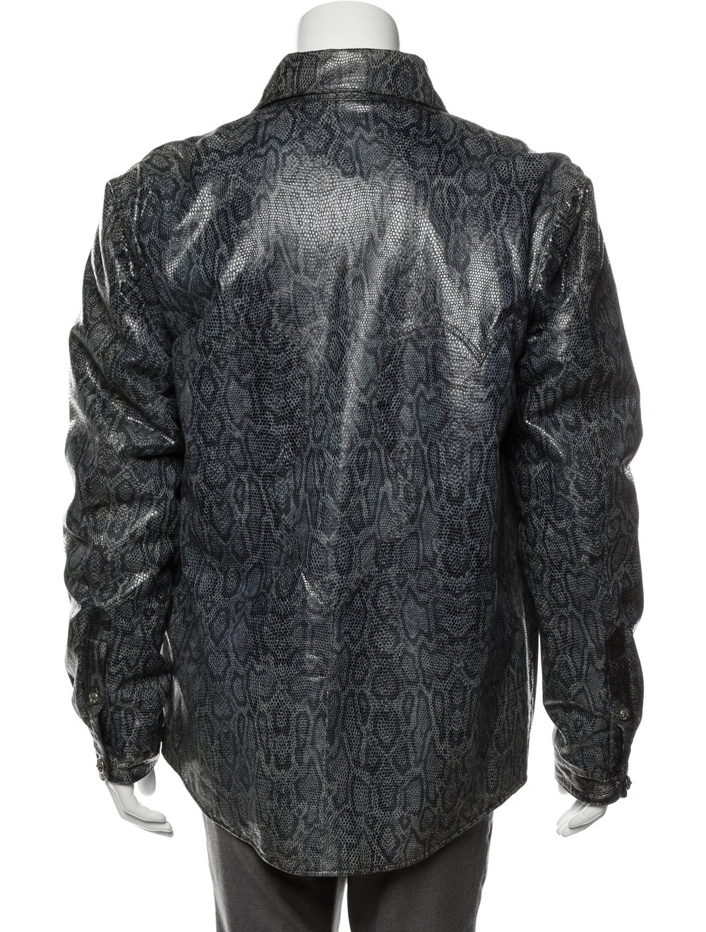 Chrome Hearts Snakeskin Button-Up Jacket blue - image 3