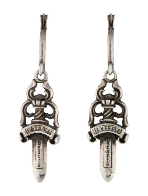 Chrome Hearts Dagger Drop Earrings Silver