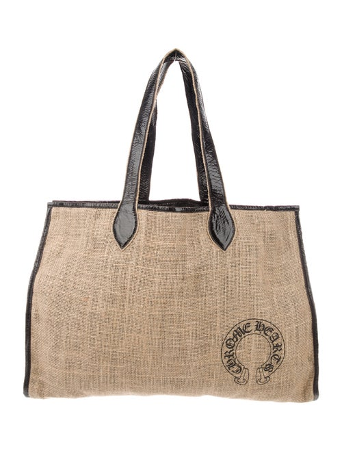 Chrome Hearts Burlap Leather-Trimmed Tote Chrome