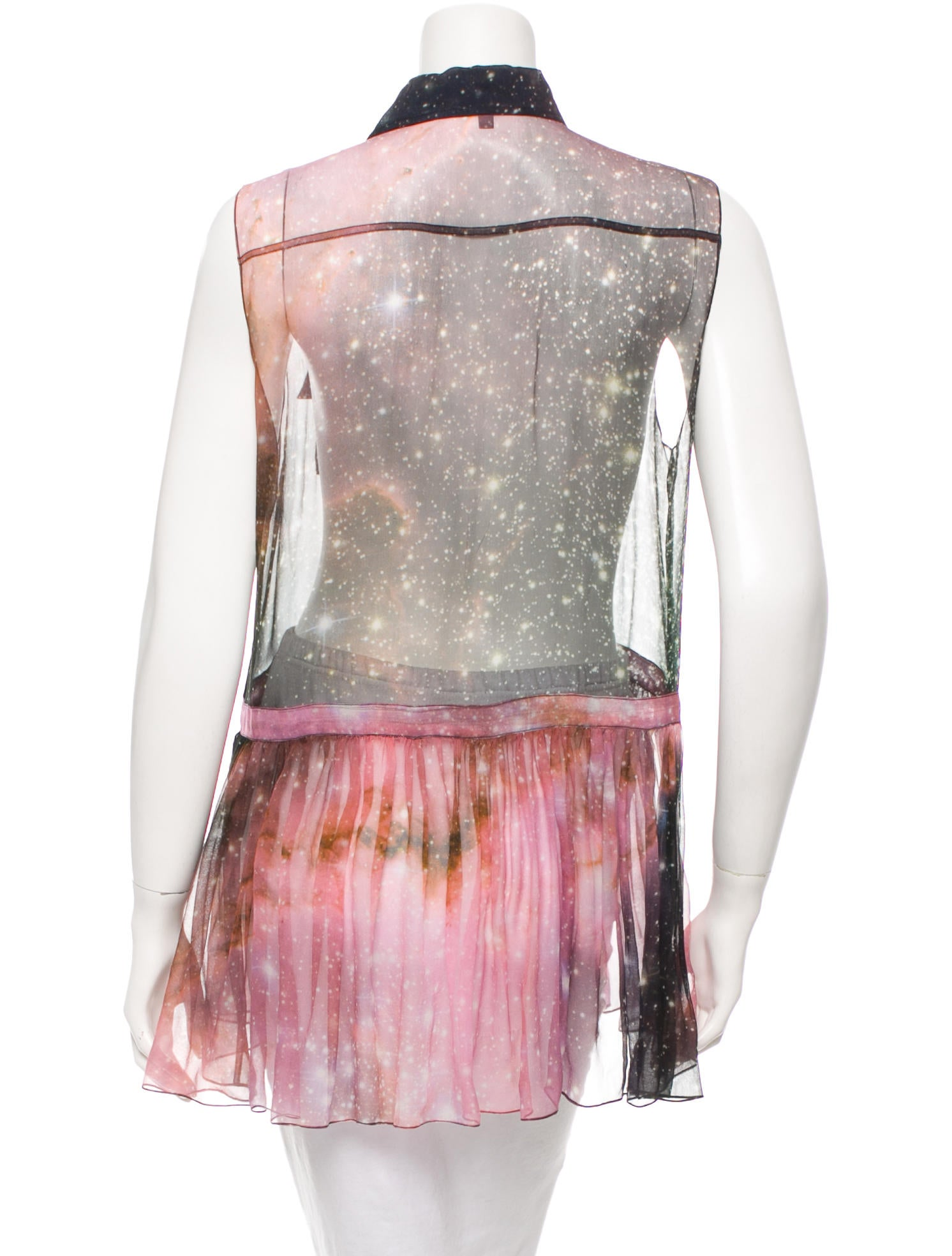 Christopher kane galaxy print sheer top clothing for Sheer galaxy fabric