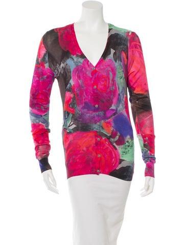 Christopher Kane Silk Floral Print Cardigan None