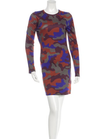 Christopher Kane Camouflage Long Sleeve Dress None
