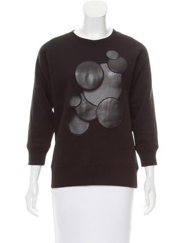 Christopher Kane Leather & Mesh-Trimmed Sweatshirt None