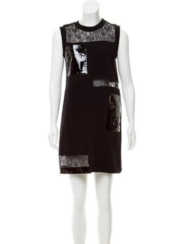 Christopher Kane Leather-Paneled Shift Dress None