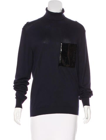 Christopher Kane Leather-Trimmed Turtleneck Sweater w/ Tags None