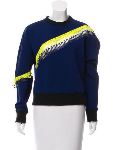 Christopher Kane Guipure Lace-Trimmed Sweatshirt None