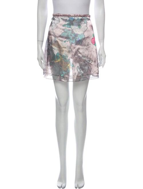 Christopher Kane Printed Mini Skirt Metallic