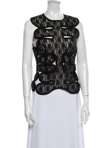 Christopher Kane Lace Pattern Crew Neck Top