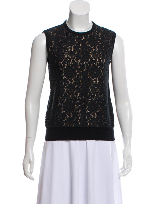 Chloé Wool Lace-Trimmed Sweater Black