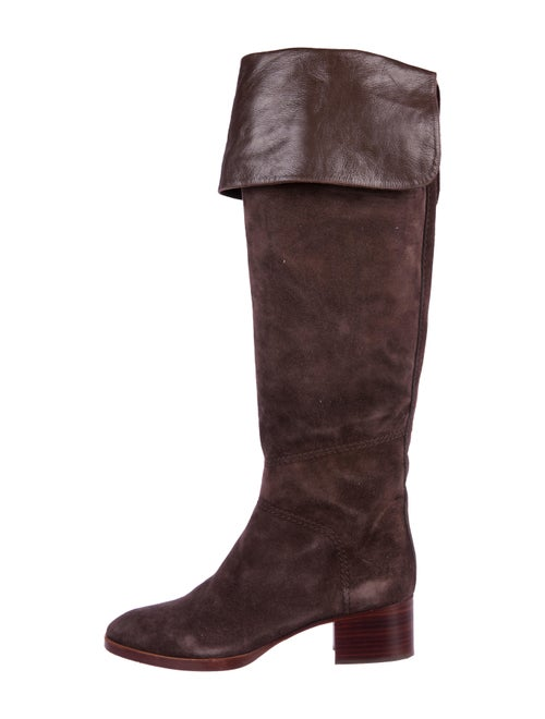 Chloé Suede Knee-High Boots Brown
