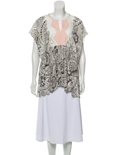 Chloé Silk Printed Blouse White