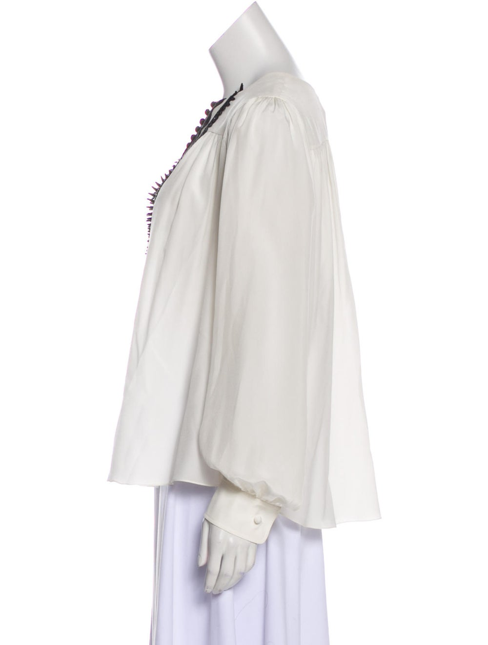 Chloé Silk Long Sleeve Blouse White - image 2