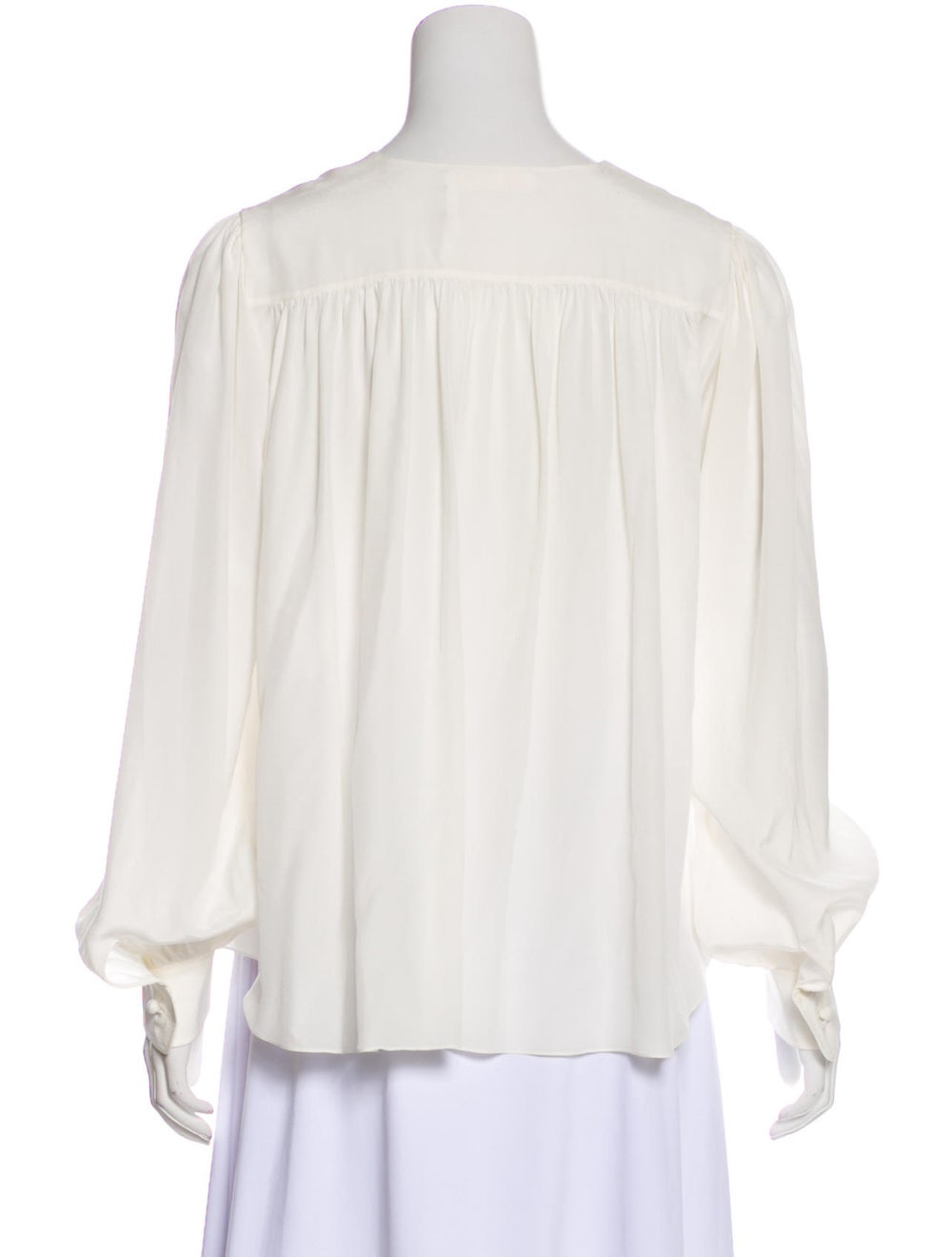 Chloé Silk Long Sleeve Blouse White - image 3