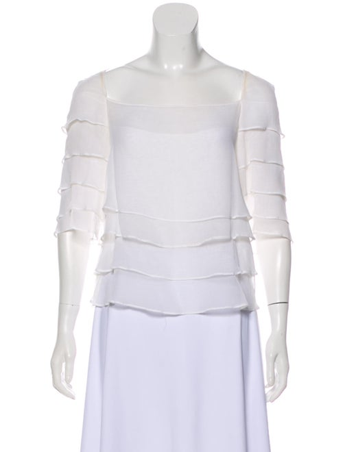 Chloé Sheer Ruffled Blouse White