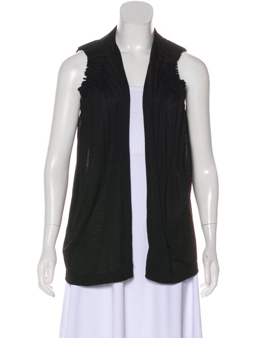 Chloé Pleated Sleeveless Cardigan Black
