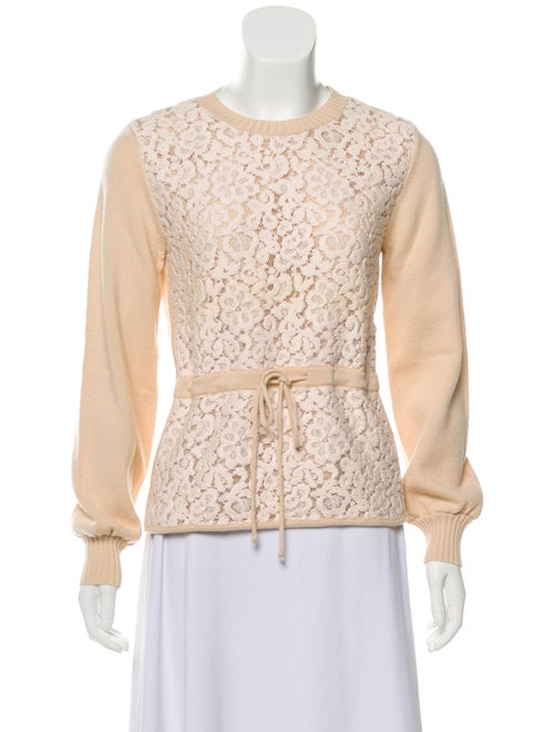 Chloé Wool Lace Sweater Pink